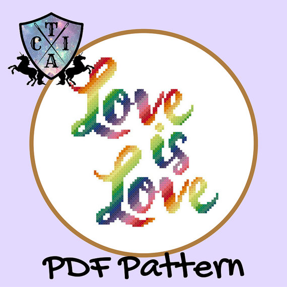 Love is Love cross stitch pattern from CraftTimeInArkham on Etsy