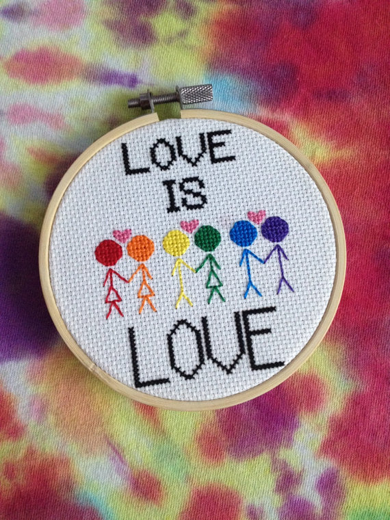 Love is Love cross stitch from ScarvesToEurope on Etsy