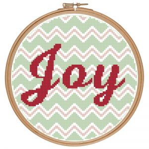 Chevron Joy Cross Stitch Pattern Preview in the Hoop