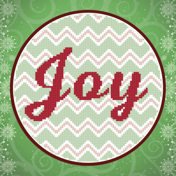Joy in Chevron Cross Stitch Pattern for 6-inch embroidery hoop