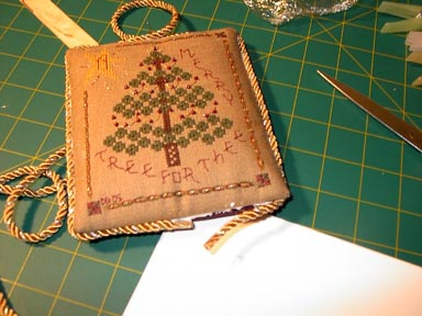 cross stitch ornament finishing step twenty-five