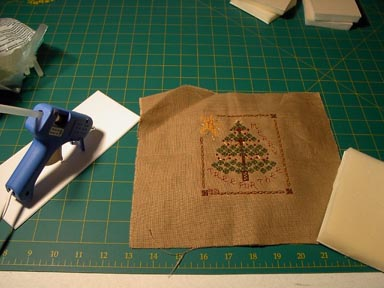 cross stitch ornament finishing step six