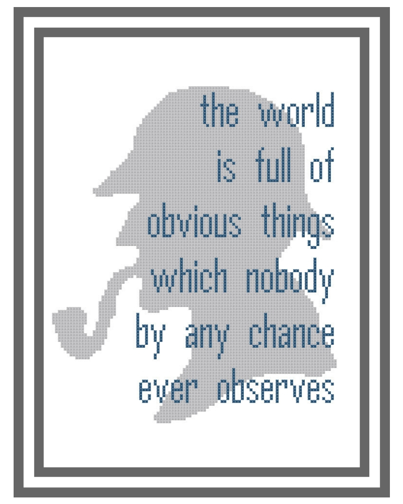 Obvious Things, a Sherlock Holmes Inspired Silhouette and Quote Pattern