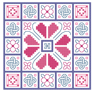 alternative color selection ideas for knots and blocks cross stitch ornament or biscornu