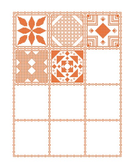 Preview of the mystery sampler cross stitch pattern including the first four parts released.