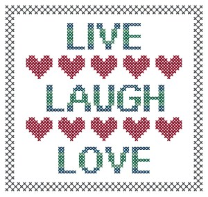 Live Laugh Love Cross Stitch Pattern Preview