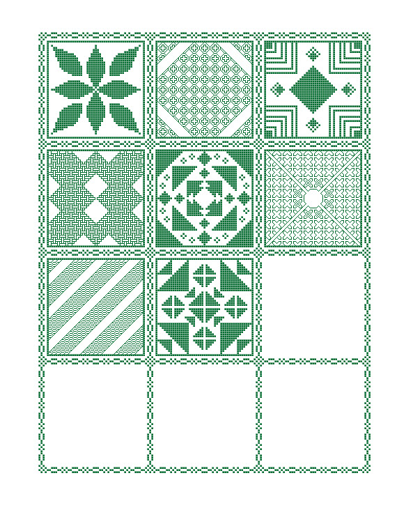 Preview of the mystery sampler cross stitch pattern including the first eight parts released.