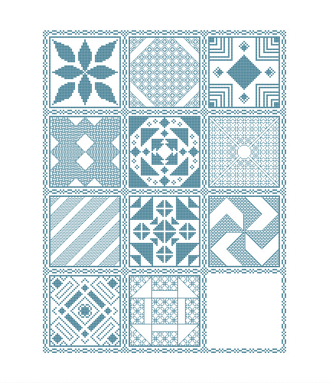 Preview of the mystery sampler cross stitch pattern including the first eleven parts released. (up to part 11 of 12)