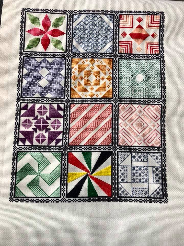 2019 Stitching the Night Away Stitchalong finish stitched by Marion Engel