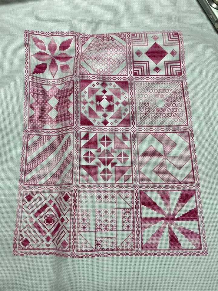 2019 stitchalong pattern stitched by Pam Rhodes in pinks/reds