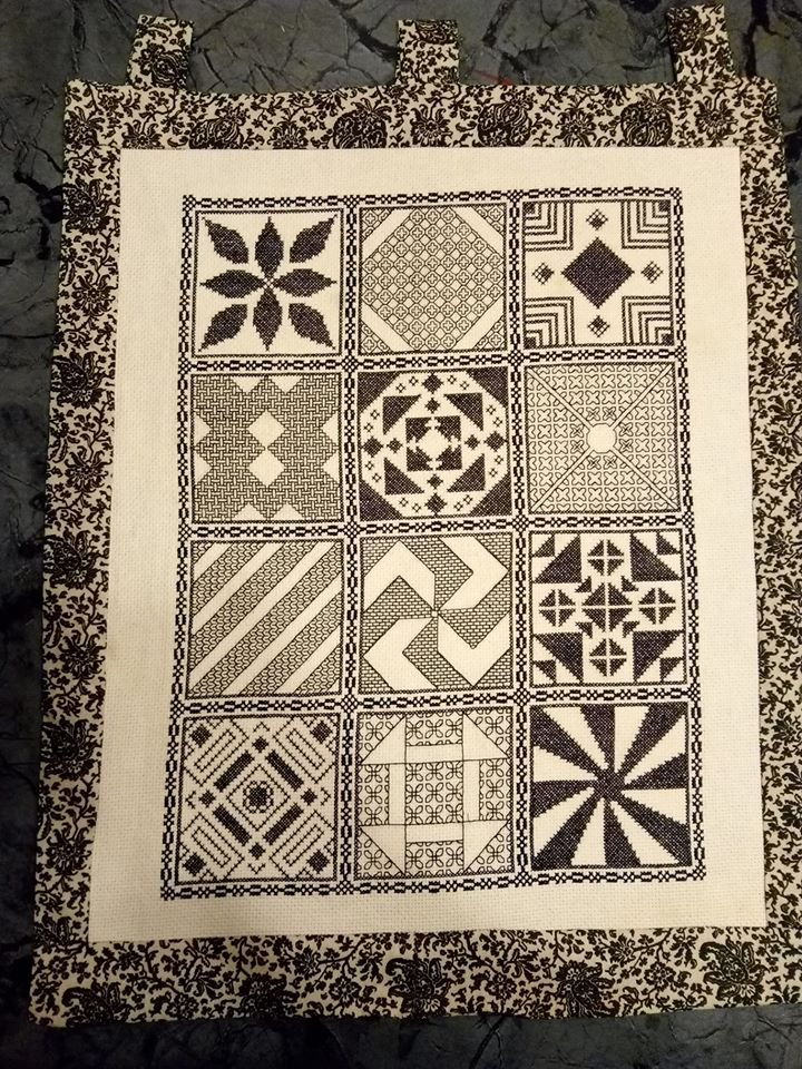 2019 Stitchalong stitched by Pam Wright and finished with a black and white fabric border
