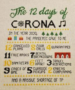 12 Days of Coronavirus Cross Stitch from RecycledBootyBags
