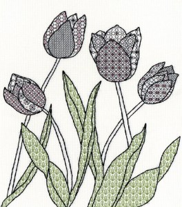 Blackwork Tulips from Bothy Threads