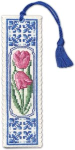 Delft Tulips Cross Stitch Bookmark from Textile Heritage