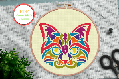 Cat Mandala Cross Stitch Pattern (2)