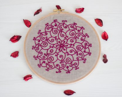 Curly mandala instant download embroidery pattern
