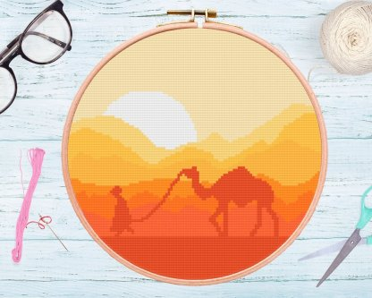 Deser-Secene-counted Cross-Stitch-Pattern