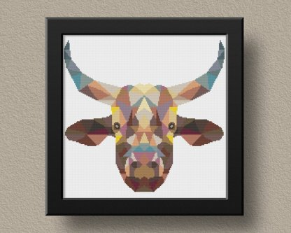 Geometric Cow free cross stitch pattern