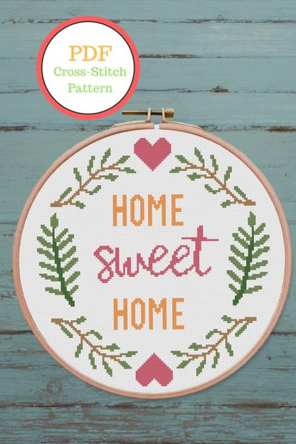 Home-Sweet-Home-2-pint-quote cross stitch pattern