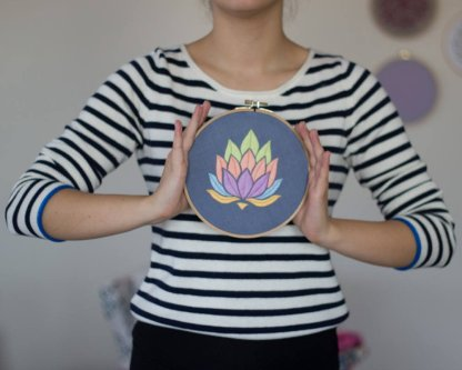 Lotus Flower Embroidery Pattern