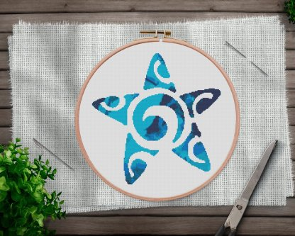 Starfish-modern cross stitch pattern