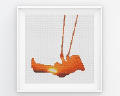 Sunset Girl Abstract Cross Stitch Pattern