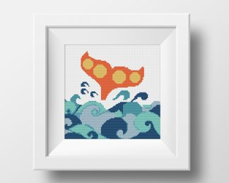 Whale cross stitch pattern