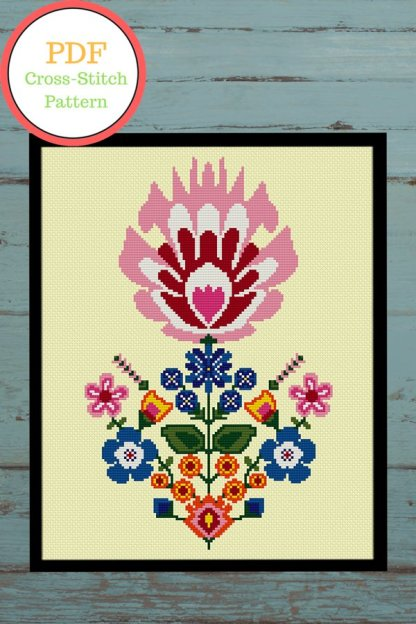flower-Pot-modern cross stitch pattern