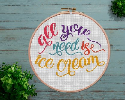 ice-cream-modern cross stitch pattern