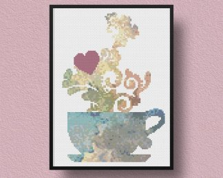 teatime free cross stitch pattern