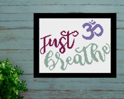 just-breathe-yoga lover cross stitch pattern