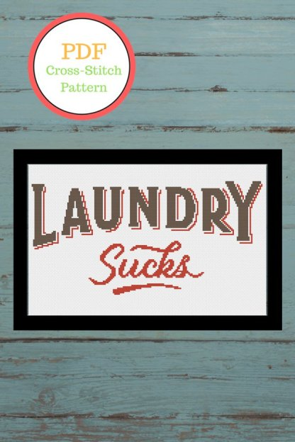 laundry-sucks-laundry room cross stitch pattern