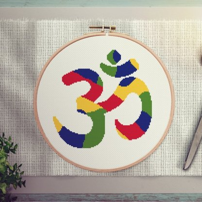 om modern cross stitch pattern