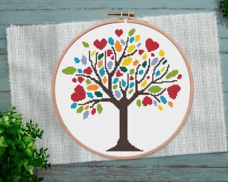spring-tree-cross stitch pattern