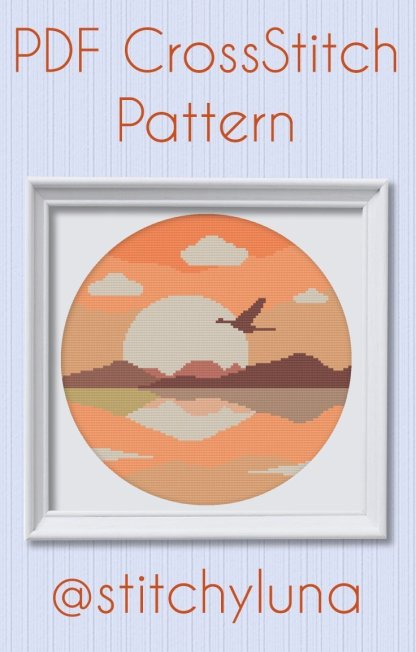 sunsetbird-instant-download-cross-stitch-template