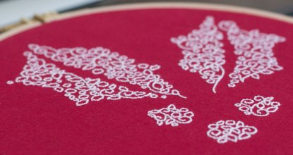 holly free hand embroidery pattern