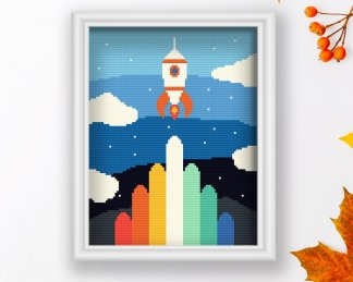 Rocket-cross-stitch-pattern