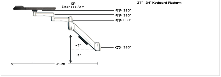 SpaceCo SA01XP27 SpaceArm Wall Channel Mount with 27 Inch