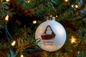 Christmas blessings ornament hanging on tree
