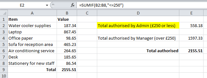 Using SumIF to add up specified values in Excel