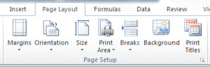 page setup group in excel 2010 for inserting a page break