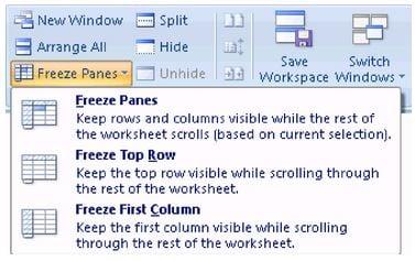 excel windows freeze