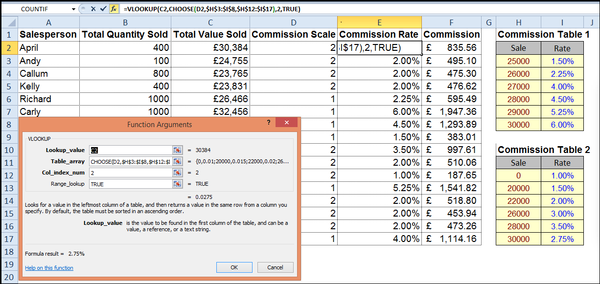 Excel VLOOKUP and HLOOKUP Functions