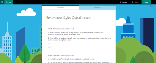 Use questionnaires on Microsoft Forms to improve efficiency