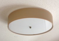 Flush Mount Linen Drum Shade Light Fixture