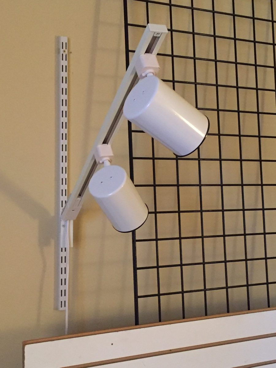 display track lighting for slatwall wire grid or slotted standard