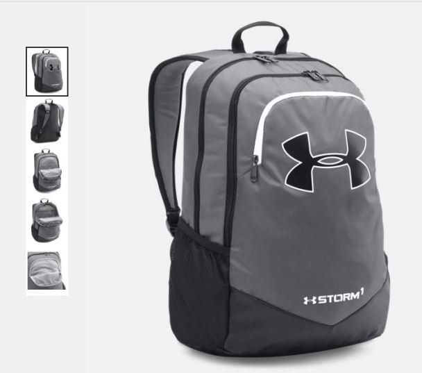 3d489230709 UA Storm Scrimmage Backpack  33.74 (Retail  44.99). This backpack is also  available in the colors pictured above!