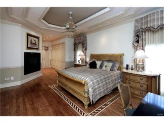 Master bedroom suite with his custom closets and french doors that open to front private patio, fireplace with granite surround and gas logs with remote