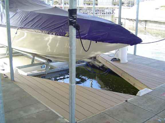 lake of the ozarks boat dock built with maintenance free decking