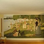 pointillism mural painting